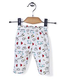 Babyhug Full Length Printed Pajama - White And Red