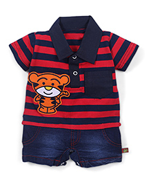 Wow Striped T-Shirt And Shorts Style Romper - Red Navy