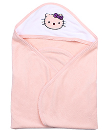 Quick Dry Hooded Towel Kitty Embroidery - Peach