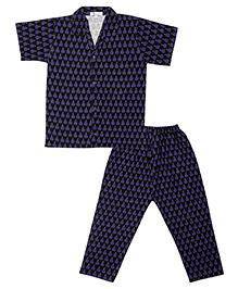 Greenapple Pear Print Night Suit - Dark Blue