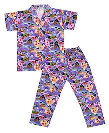 Greenapple Forest Print Night Suit - Purple