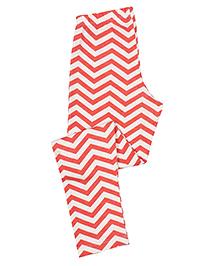 Greenapple Zigzag Print Leggings - White & Red