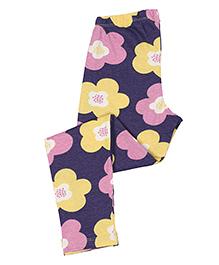 Greenapple Floral Print Leggings - Purple