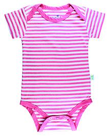 Little Green Kid Striped Onesie - Pink