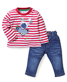 ToffyHouse Striped Teddy Bear Patch T-Shirt & Jeans Set - Red & Blue