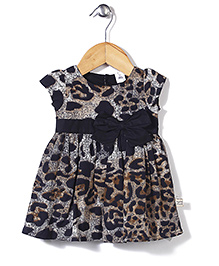 ToffyHouse Short Sleeves Abstract Print Frock With Bow - Black