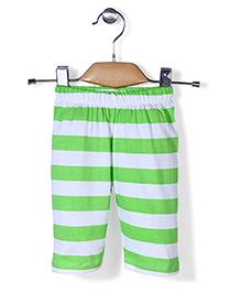 Babyhug Full Length Stripe Leggings - White Green