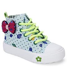 Cute Walk Party Wear Slip-On Shoes Bow Applique - Light Blue Green