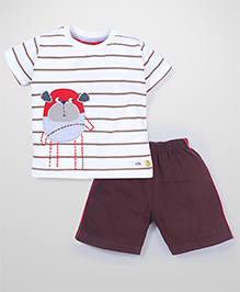 Babyhug Half Sleeves T-Shirt And Shorts Set Teddy Print - White And Brown