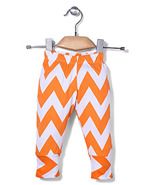 Babyhug Full Length Abstract Leggings - Orange & White