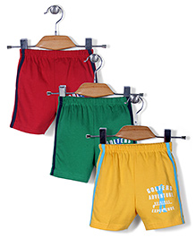 Zero Shorts Golfers Adventure Print Set of 3 - Maroon Green Yellow