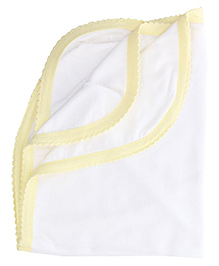 Tinycare Plain Baby Towel - White and Yellow