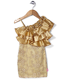 Chocopie Sleeveless Floral Embroidery Frock - Golden
