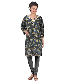 Uzazi Three Fourth Sleeve Maternity Kurti Floral Print - Green & Navy