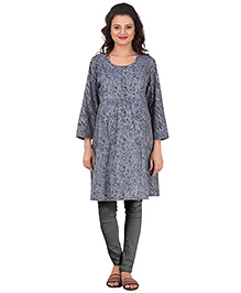 Uzazi Three Fourth Sleeves Maternity Kurti Floral Print - Grey