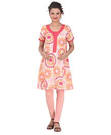 Uzazi Half Sleeves Maternity Kurti Floral Print - Pink