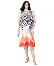 Uzazi Sleeveless Printed Evening Nursing Dress - Orange