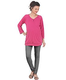 Uzazi Three Fourth Sleeves Nursing Top - Pink