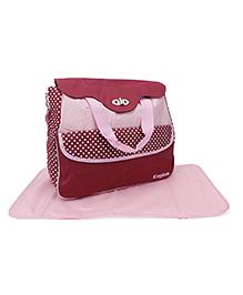 Mother Bag With Mat Dot Print - Maroon Pink