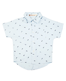 Brown Bows Half Sleeves Paper Plane Print Shirt - Off White