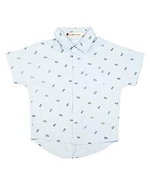 Brown Bows Half Sleeves Paper Plane Print Shirt - Off White