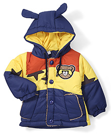 Babyhug Full Sleeves Hooded Jacket Bear Patch - Yellow and Blue
