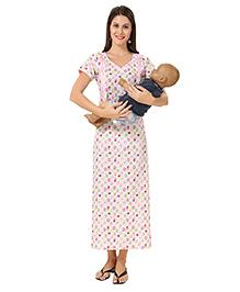 Eazy Maternity Feeding Nighty Pink And White - Large