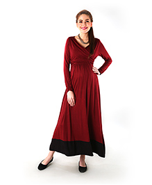 Momzjoy Full Sleeves Front Wrap Maternity Dress - Wine Red