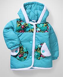 Babyhug Full Sleeves Hooded Jacket Floral Print - Green