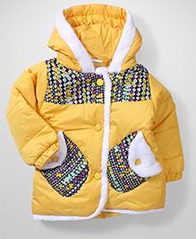 Babyhug Full Sleeves Hooded Jacket Floral Print - Yellow