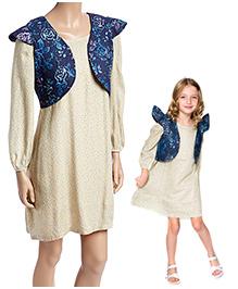 Yo Baby Mom Daughter Collection Floral Vest & Polka Dot Dress Set - Cream & Blue