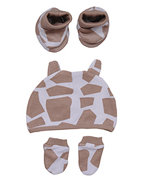 bio kid Dual Color Printed Cap Mittens & Booties - White & Light Brown