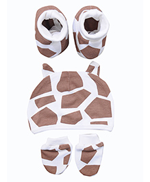 bio kid Printed Cap Mittens & Booties Set - Brown