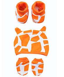 bio kid Printed Cap Mittens & Booties Set - Orange