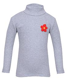bio kid Full Sleeves Sweat Top Floral Applique - Grey