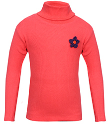 bio kid Full Sleeves Sweat Top Floral Applique - Peach