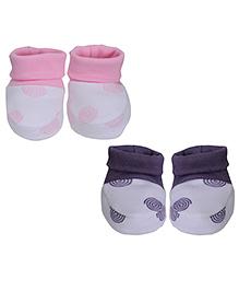 bio kid Ribbed Style Multi Print Pack Of 2 Pairs Of Booties - Pink & Purple