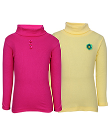 bio kid Full Sleeves Sweat Top Set of 2 - Pink Yellow