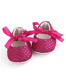 PinkXenia Sparkly Sequin Crib Shoes - Pink