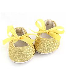 PinkXenia Sparkly Sequin Crib Shoes - Yellow
