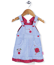 Chocopie Sleeveless Pinafore Frock Floral Embroidery - Blue