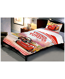 Uber Urban Disney Pixar Cars Cotton Single Bed Sheet With 1 Pillow Cover - Multi Color