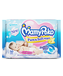 Mamy Poko Pure & Soft Baby Wipes With Fragrance - 50 Pieces
