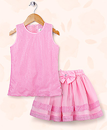 Peaches & Cream by Babyhug Embellished Top & Skirt Party Set - Pink