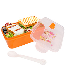 Lunch Box With Spoon Smile Print - Orange