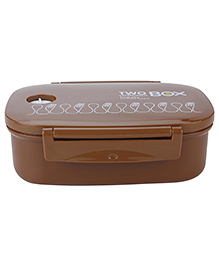 Lunch Box With Spoon Spoon And Fork Print - Brown