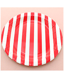 Funcart Red Sailor Striped Round Plates - Pack Of 12