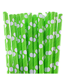 Funcart Polka Dot Paper Straws Green - Pack Of 25