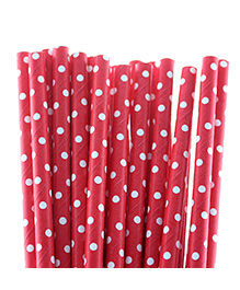 Funcart Polka Dot Paper Straws Red - Pack Of 25