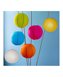 Funcart Paper Lantern Multi Color - Pack Of 5